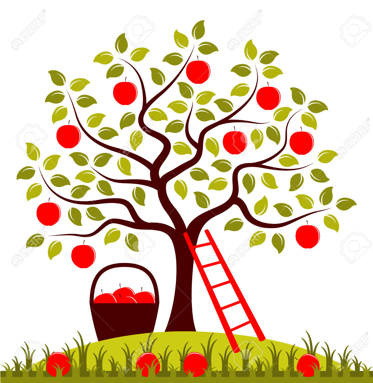 Vector Apple Tree, Ladder And Basket Of Apples Royalty Free.