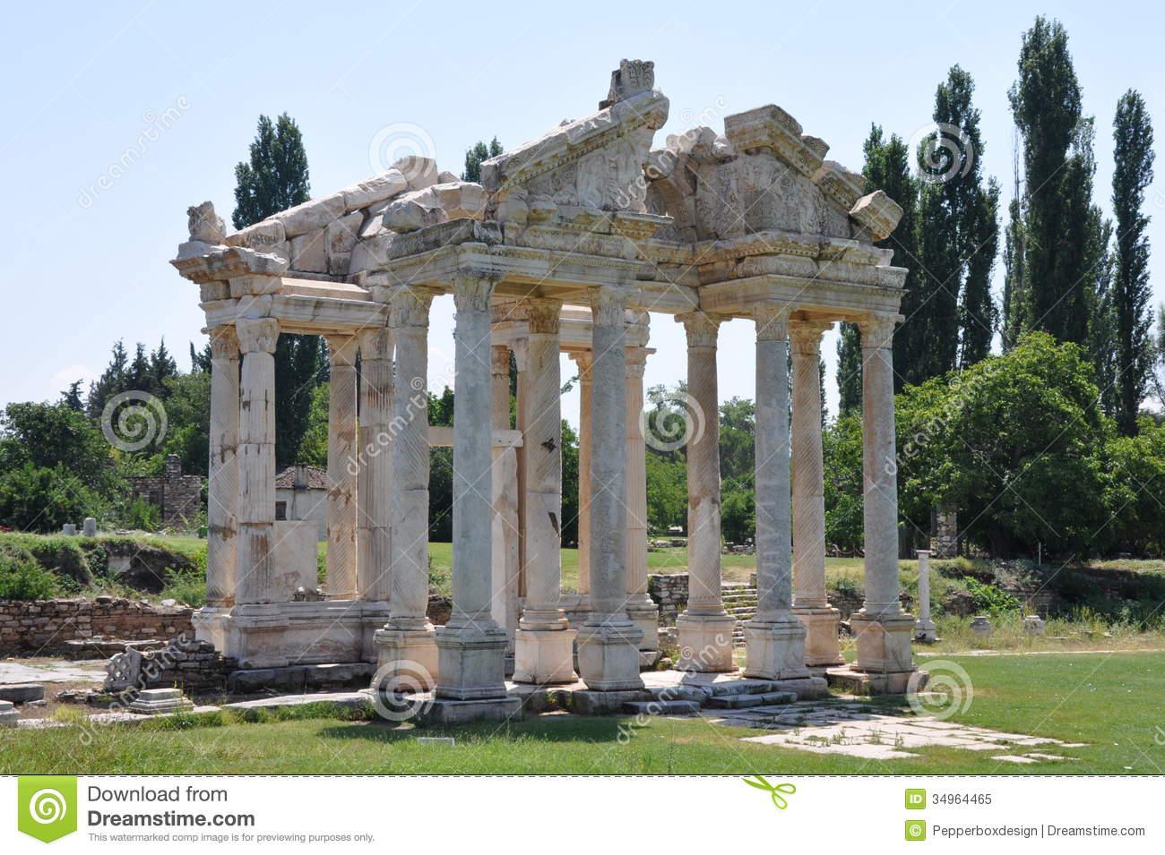 Monumental Gateway Or Tetrapylon, Aphrodisias, Turkey Royalty Free.