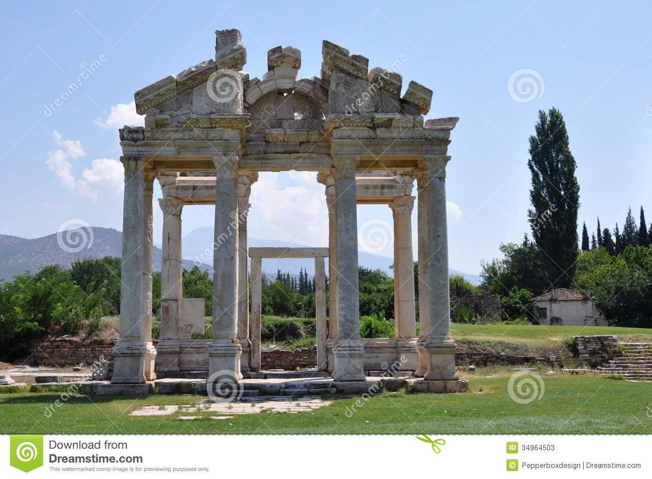 Tetrapylon Or Monumental Gateway At Aphrodisias, Turkey Stock.