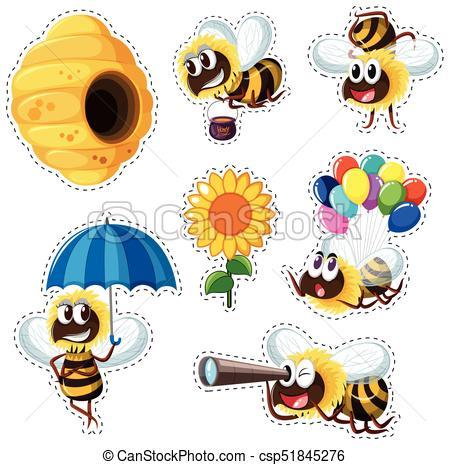 molti, adesivo, api, disegno, alveare.