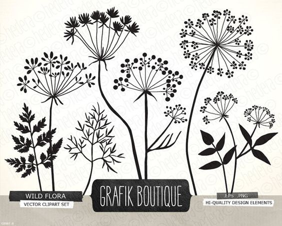 Wild Herbs Flowers silhouette vector clip art, card, label, diy.