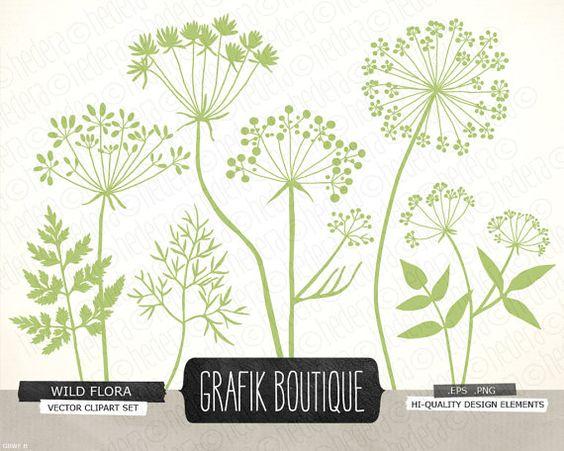 Wild Herbs Flowers silhouette vector clip art, plant, dandelion.