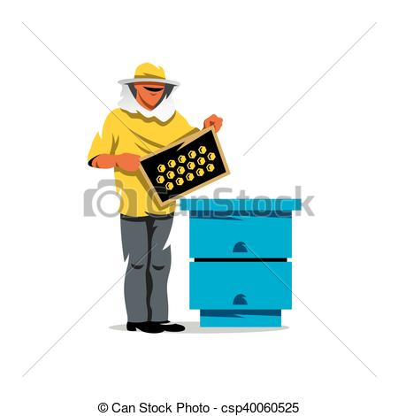 Vector Clipart of Beekeeper working in apiary vector background.