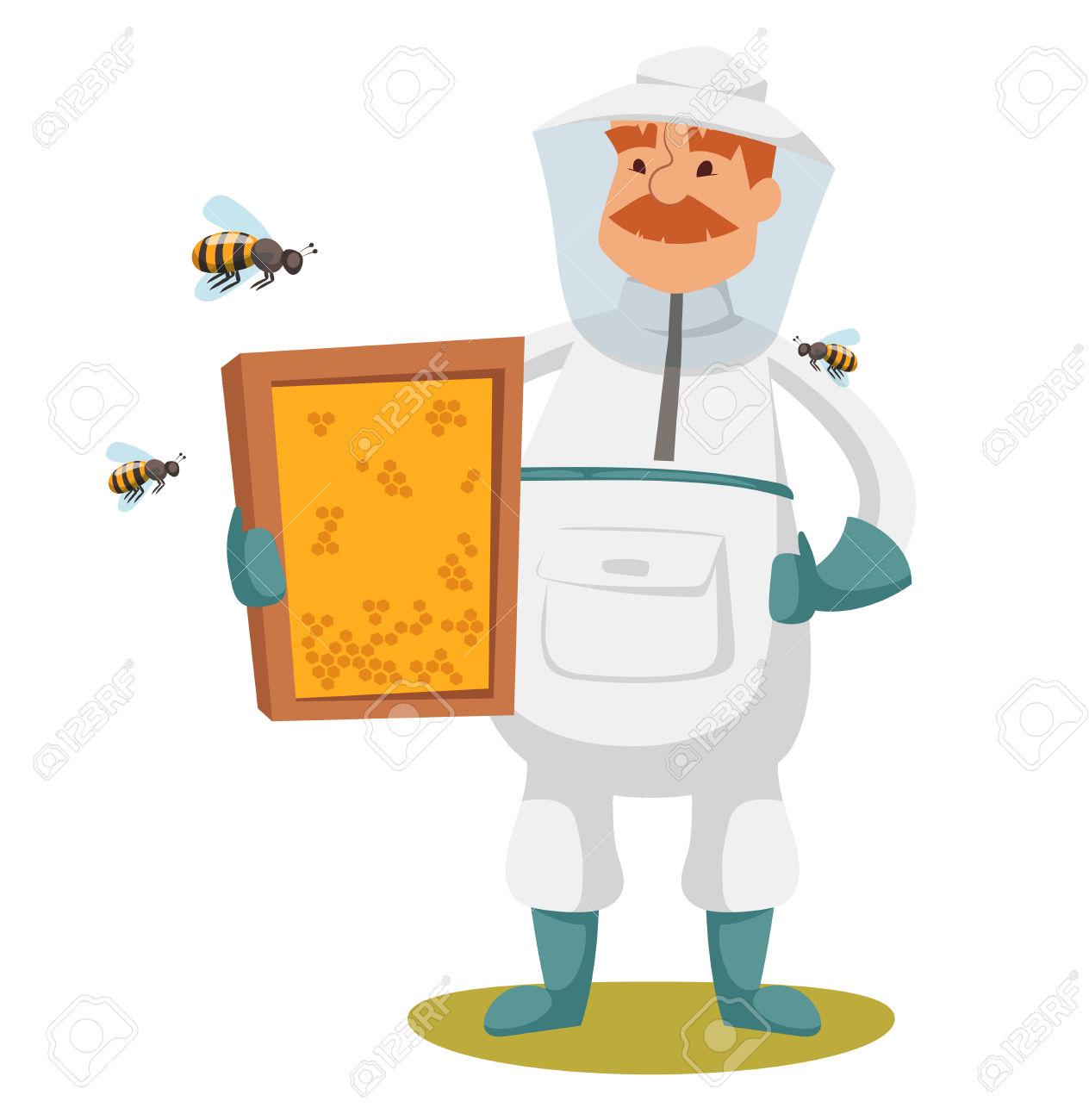Apiary Beekeeper Vector Illustrations. Apiary Vector Symbols.