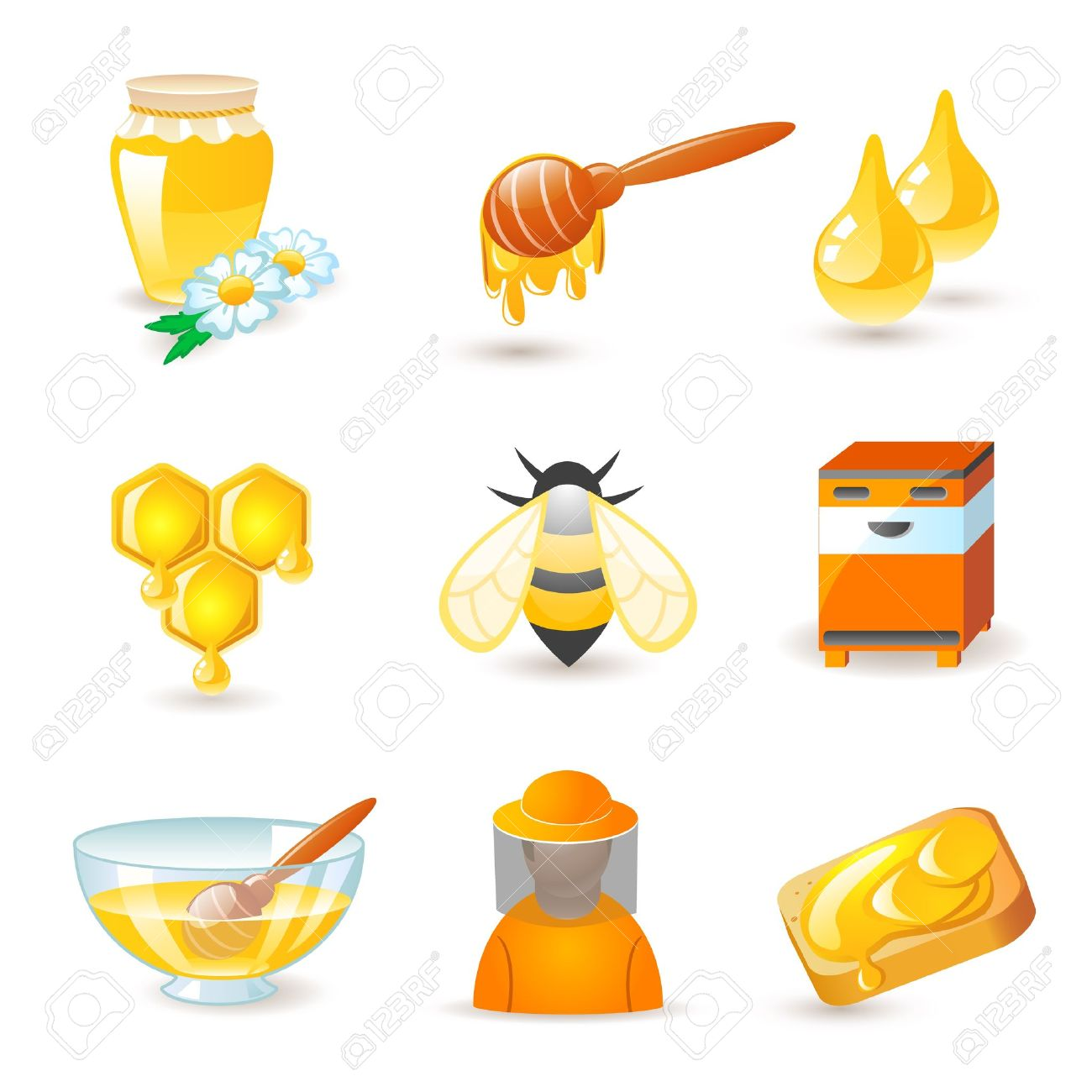 Honey And Beekeeping Icons Royalty Free Cliparts, Vectors, And.