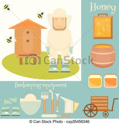 EPS Vector of Apiary beekeeper.