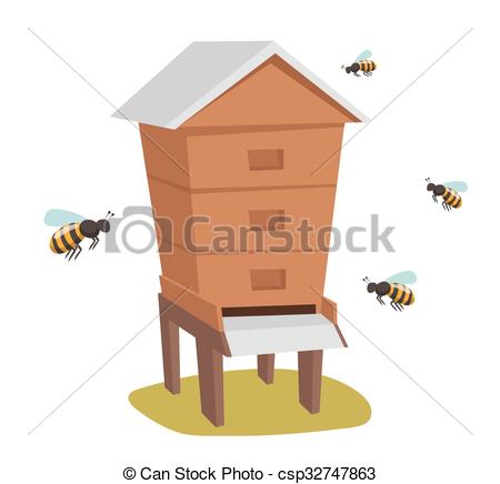 Clip Art Vector of Apiary honey bee house apiary vector.