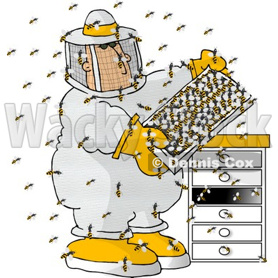 Beekeeper Checking a Honeybee Apiary (Bee Hives) Clipart © Dennis.