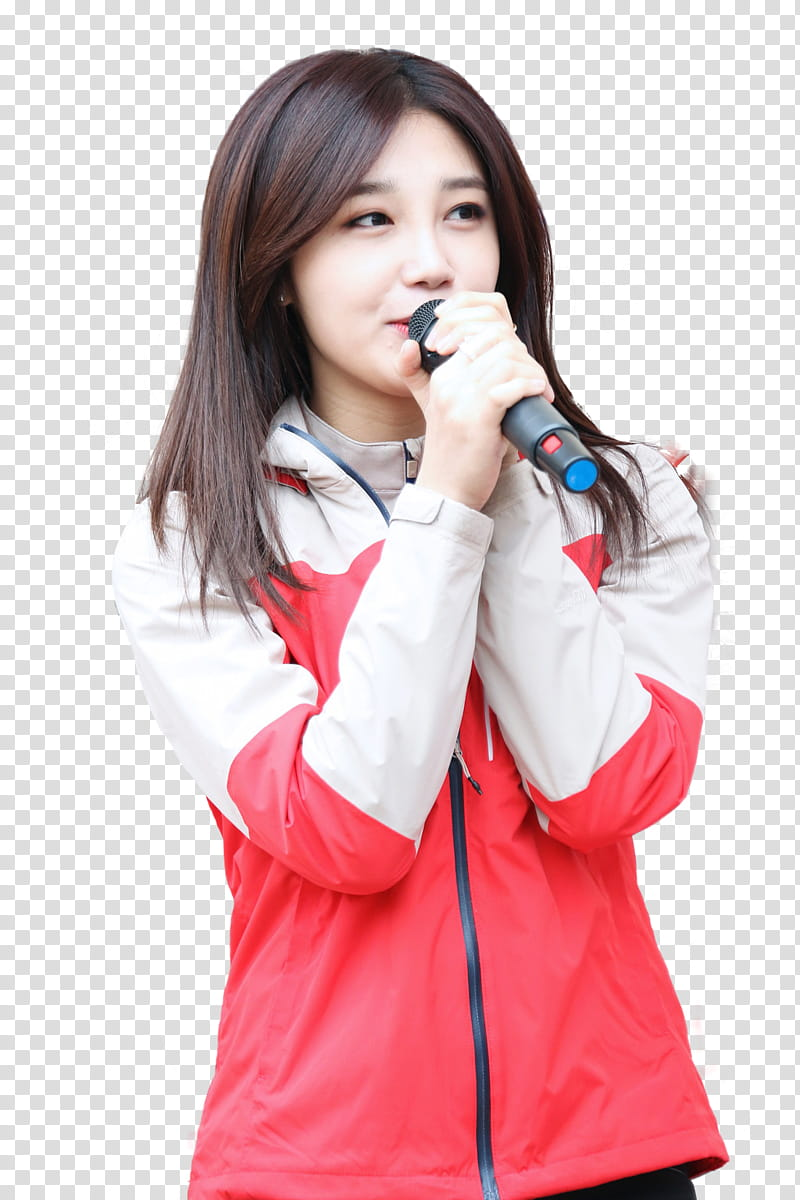 Apink EunJi, woman in white and red zip.