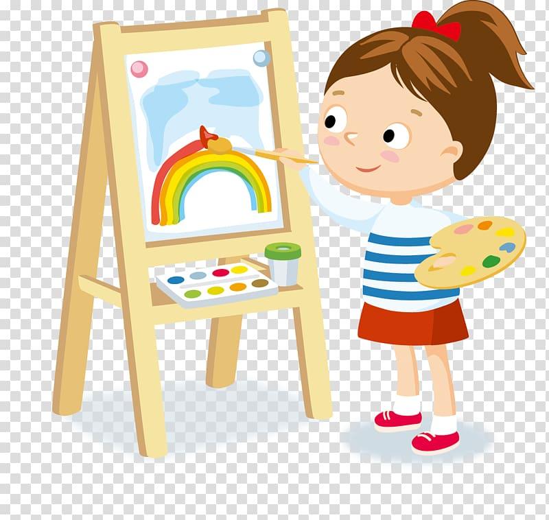 Girl painting rainbow illustration, Hobby Child , student.