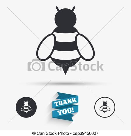 Vector Clipart of Bee sign icon. Honeybee or apis symbol..