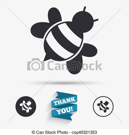 Clipart Vector of Bee sign icon. Honeybee or apis symbol..