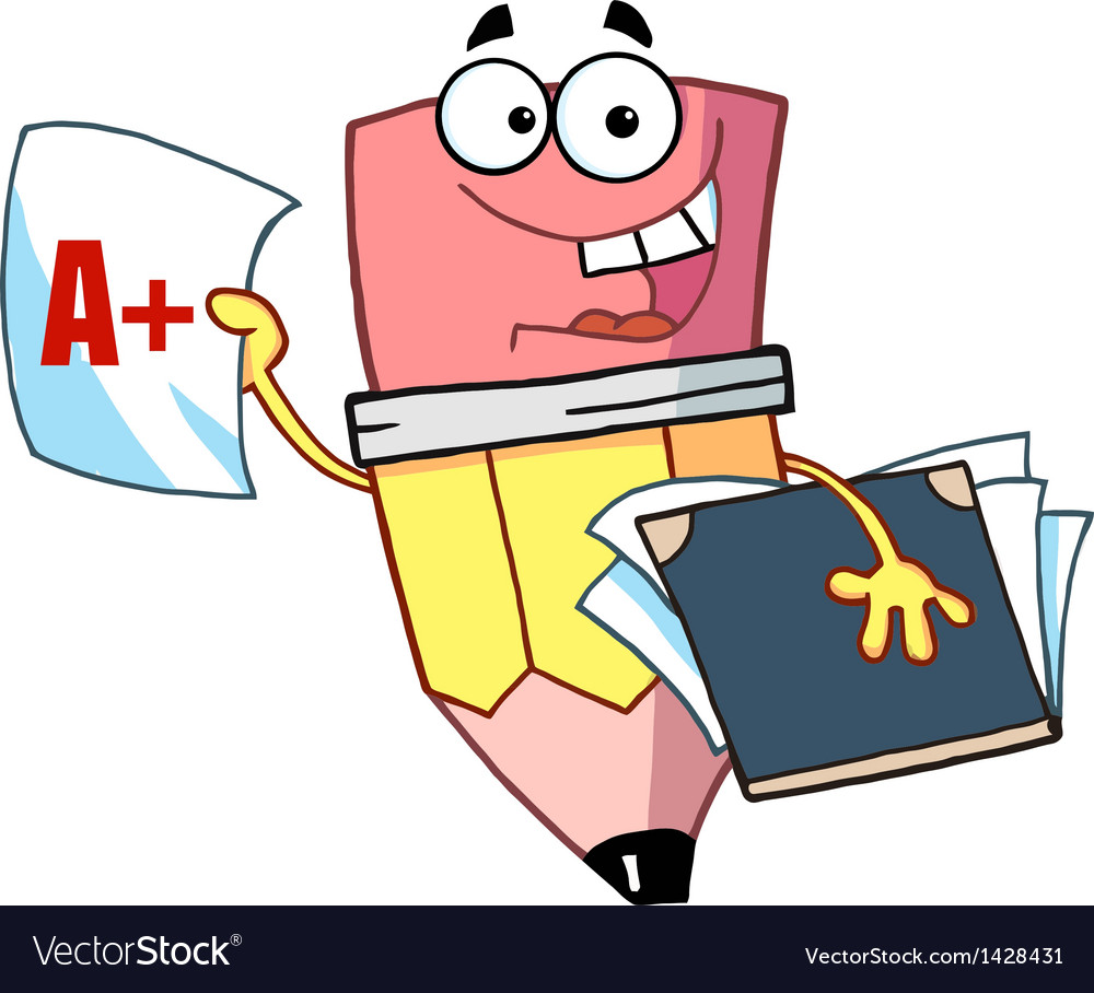 Happy Pencil Guy Holding An A Plus Report Card.