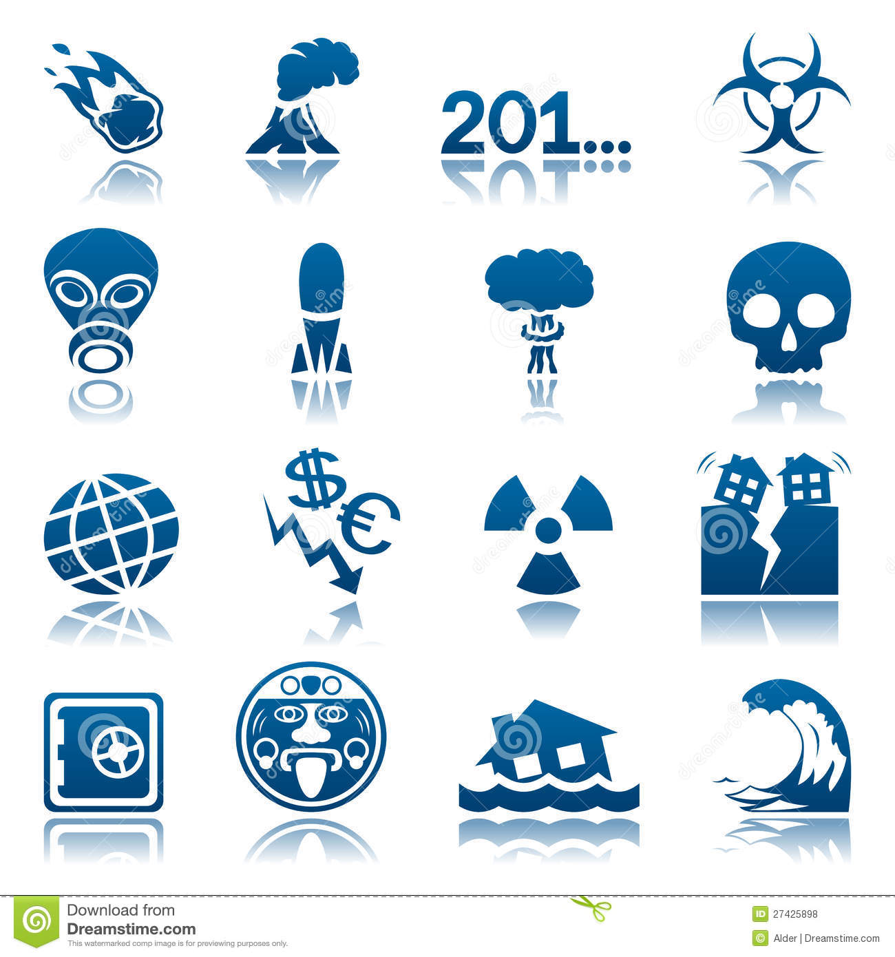 Apocalyptic And Natural Disasters Icon Set Royalty Free Stock.