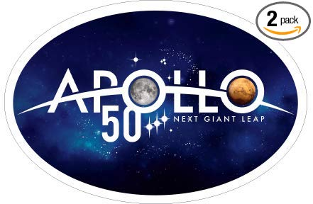 Apollo 11 Moon Landing Anniversary Car Bumper Stickers NASA Space Center  Official Apollo 50th Anniversary Logo Two Car Decorations.