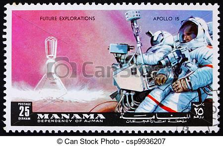 Picture of Postage stamp Manama 1972 Astronaut with Camera, Apollo.