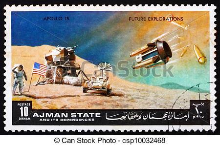 Stock Image of Postage stamp Manama 1972 Moon.