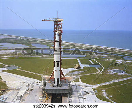 Stock Images of An aerial view of the Apollo 15 spacecraft on its.