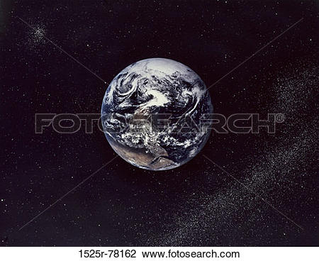 Stock Photo of Earth From Apollo 17 Spacecraft (Stars Added) 1525r.