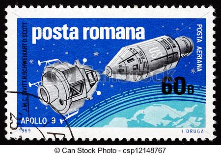 Stock Image of Postage stamp Romania 1969 Apollo 9 and Lunar.