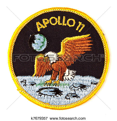 Picture of Apollo 11 mission Space suit badge over white k7679357.