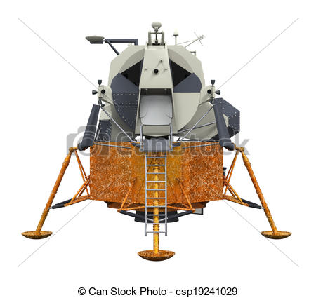 Clip Art of Apollo Lunar Module isolated on white background. 3D.