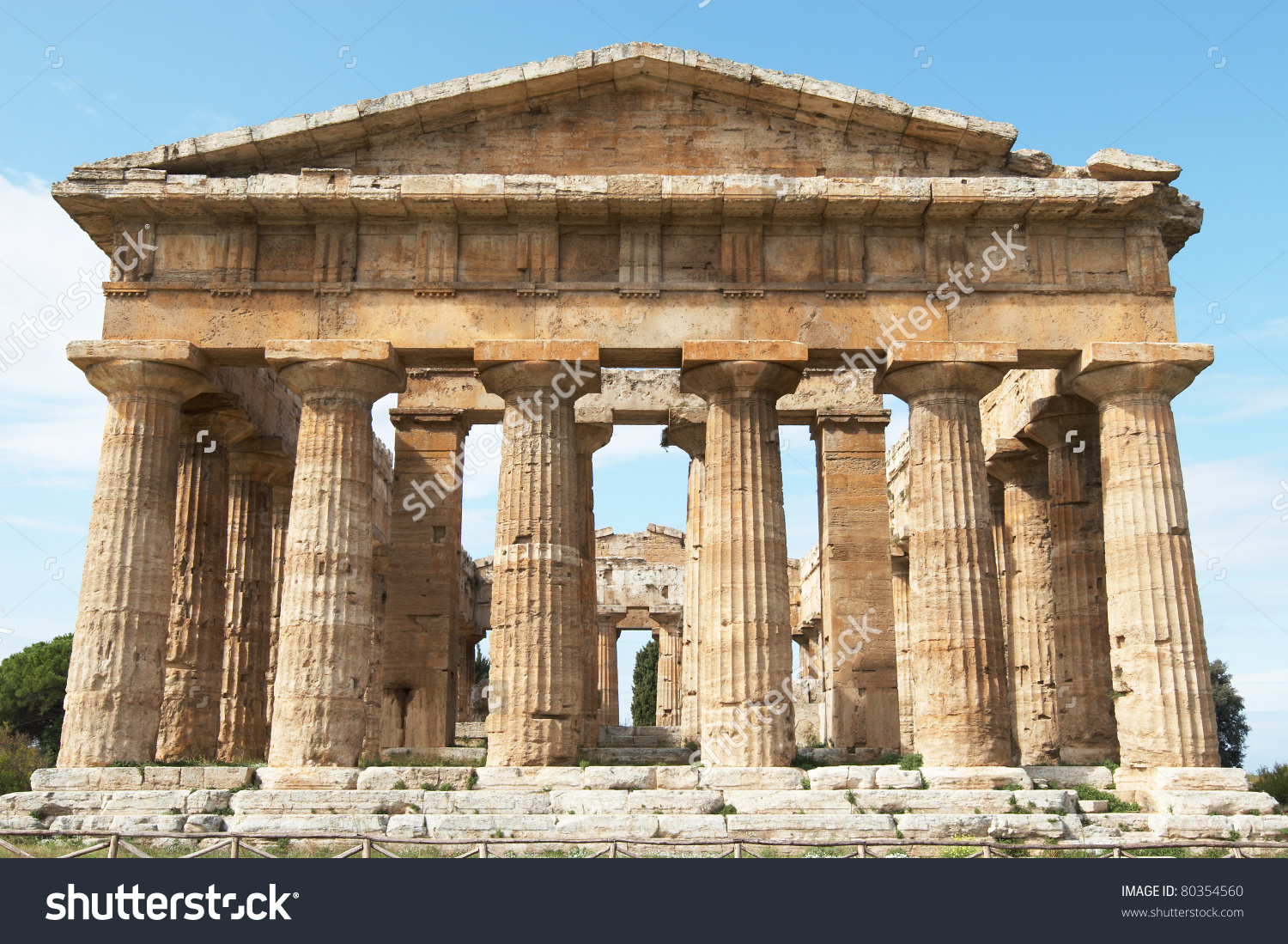Italy Paestum Temple Heraii Formerly Known Stock Photo 80354560.