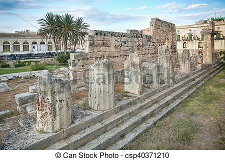 Stock Photography of Ruins of the ancient greek doric temple of.