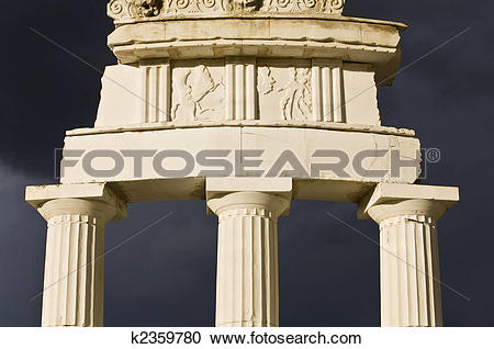 Stock Photography of Detail of the Delphi Apollo temple in Greece.