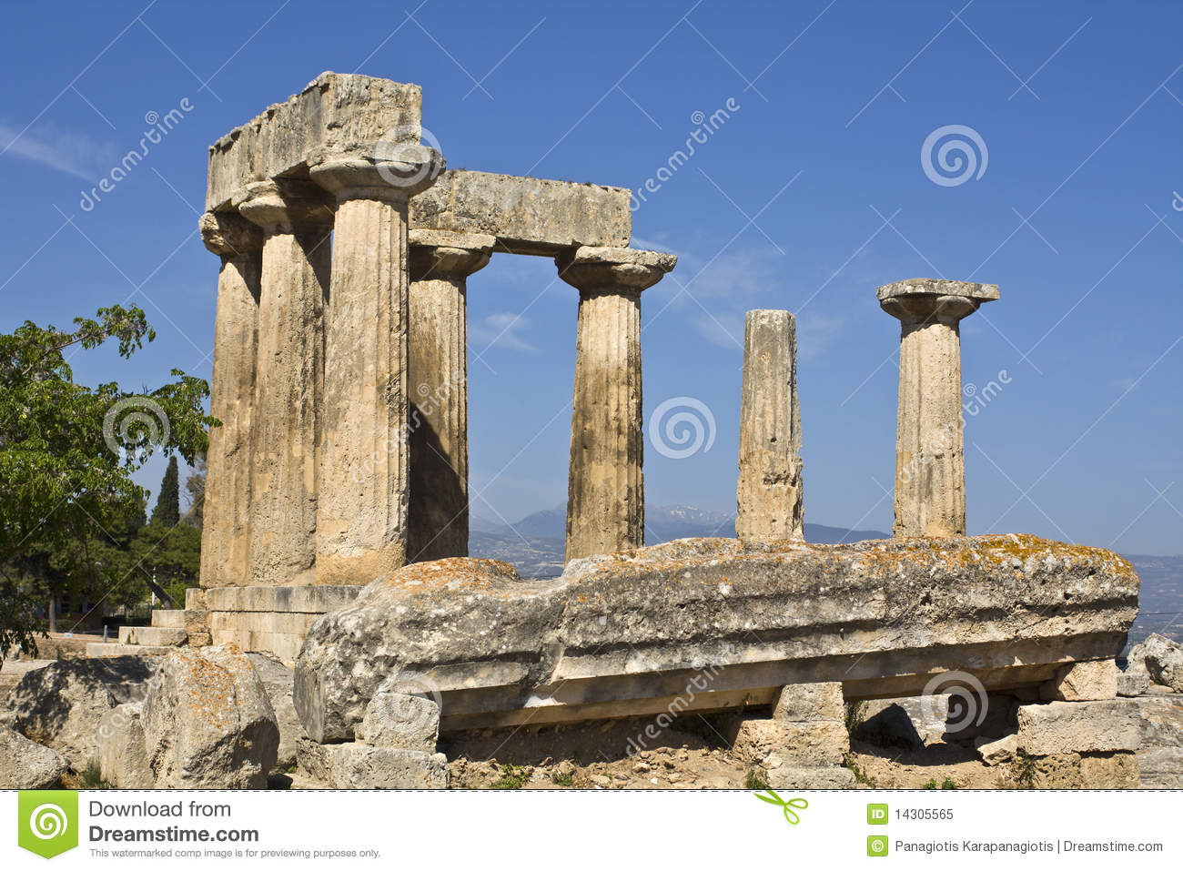 Ancient Corinth, Temple Of Apollo, Greece Royalty Free Stock Photo.