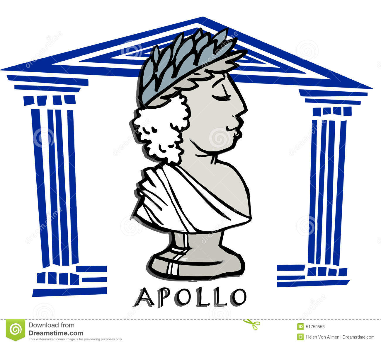 Apollo,Phoebus, Greek God Cartoon Stock Vector.