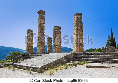 Stock Images of Ruins of Apollo temple in Delphi, Greece.