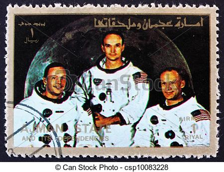 Stock Photo of Postage stamp Ajman 1973 Crew of Apollo 11.