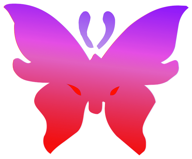 Free illustration: Butterfly, Red, Purple, Outline.