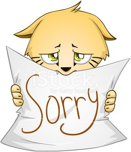 Cute Kitten Holds Sign Of Apology Clipart Image.