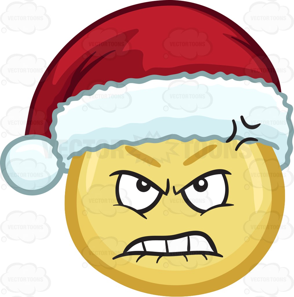 A Furious And Hurt Emoji Wearing A Santa Hat Cartoon Clipart.