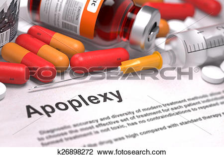Clip Art of Apoplexy. Medical Concept. Composition of Medicaments.