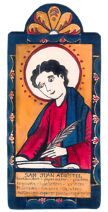 Details about SAN JUAN ST JOHN APOSTLE WRITERS PRINTERS PAINTERS WOOD  POCKET RETABLO 49.
