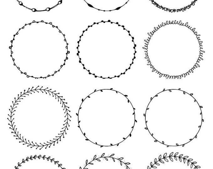 Round frames clipart. Hand drawn circles clipart. Floral.