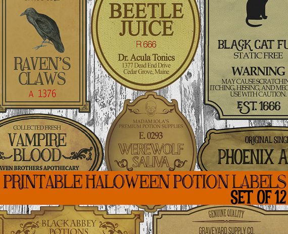 DIY Halloween Potion Label Printables, Apothecary Labels.