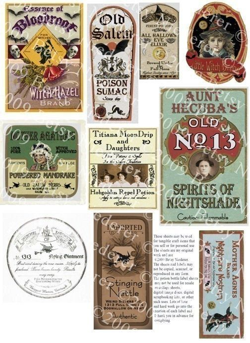 Vintage Halloween Witch Potion Bottle Labels Digital.