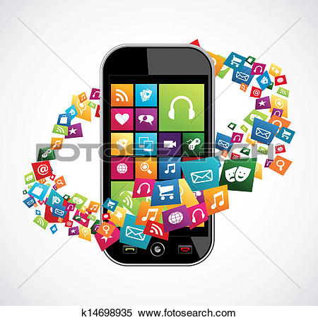 Clip Art of Mobile phone app icon background k9749349.