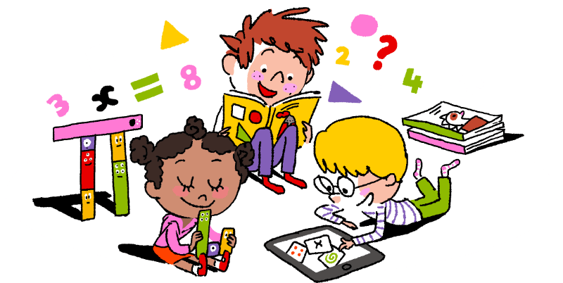 Student Studying Math Clipart.