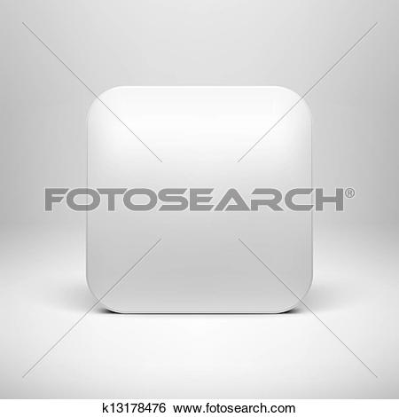 Clip Art of Technology White Blank App Icon Template k13178476.