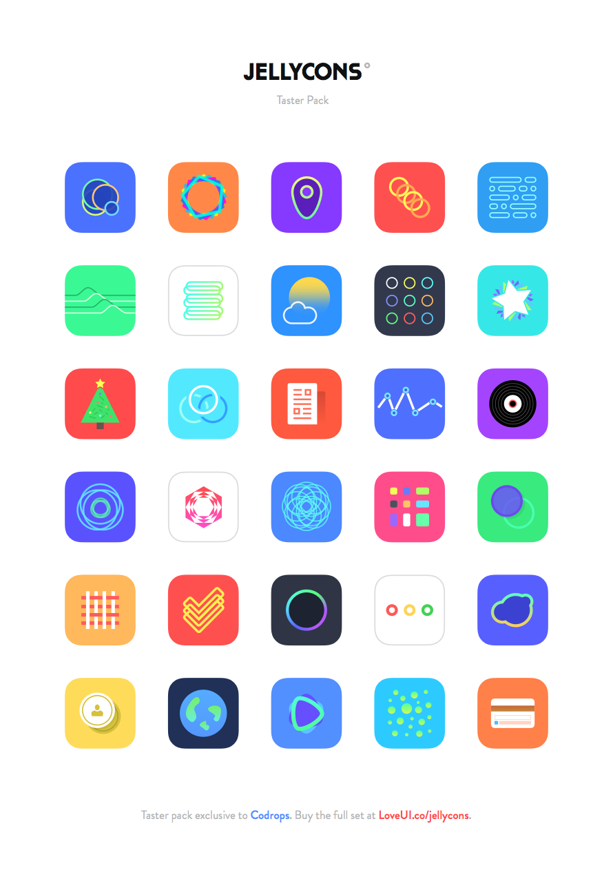 Freebie: Jellycons iOS 8 App Icon Set.