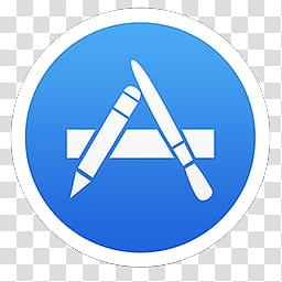 Mac OS X Mavericks icons, App Store, round white and blue A.