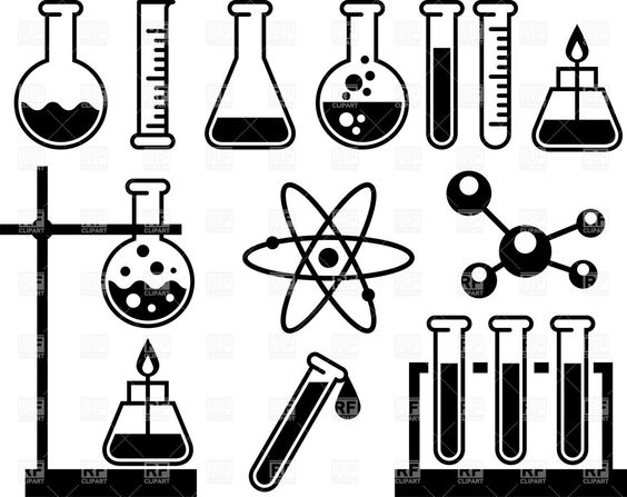 scientific experiment apparatus clip art black and white.