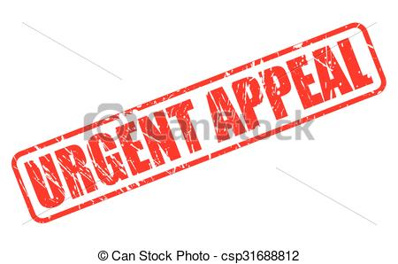 Vector Clip Art of URGENT APPEAL red stamp text on white.