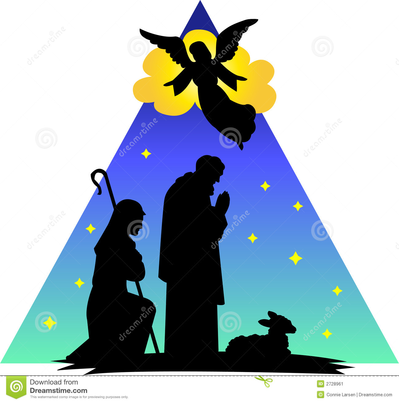 Angels appear to shepherds clipart.