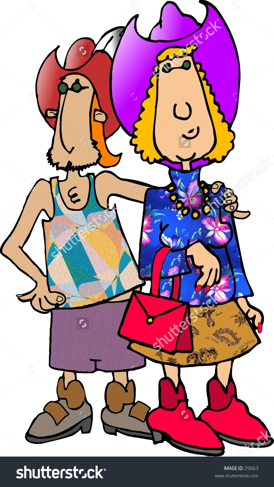 Clipart Illustration Of A Man And Woman In Strange Outfits.